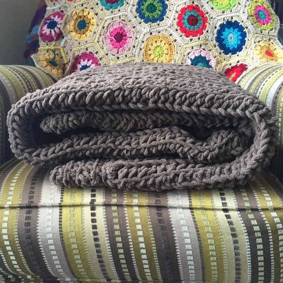 SALE! Super Plush Nature Blanket in Solids Throw Chunky Cabled Crocheted Throw