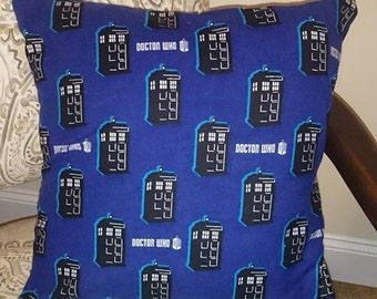 """Dr Who Tardis Flannel 16"""" x 16"""" Decorative Throw Pillow  (with Insert)"""