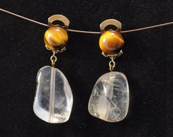 These gems, CLIPS, polished citrine nugget and Tiger eye cabochon earrings