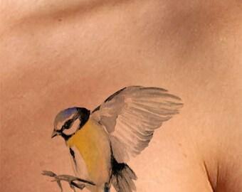 Temporary Tattoo-Watercolor Tattoo-Bird Tattoo-Tattoo Sticker-Gifts for Women