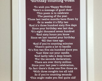 Funny birthday poem, Birthday Counting Poem, Birthday Poem, birthday verse, poem for a birthday, poem about a birthday