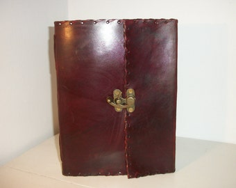 LEATHER BOUND JOURNAL/Scrapbook/Recipe Book, 100% Real Leather, Recycled Handmade Paper, Fair Trade
