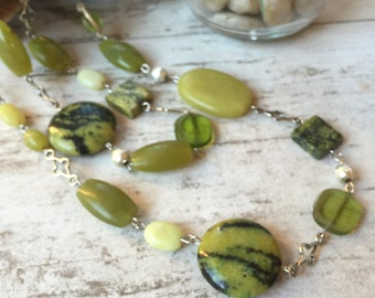 Turquoise Peridot Silver Necklace