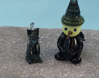 Witch and Cat Glass Figure