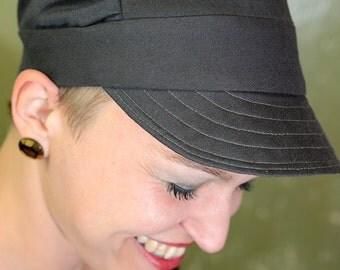 grey peaked CAP, twill weave, single-piece, size 56 cm