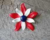 vintage enamel flower brooch . 1960s enamel daisy flower pin brooch . red white blue enamel flower . flower power jewelry