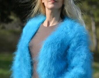 ORDER hand knitted mohair bolero fuzzy shrug soft bolero summer shrug handmade wrap mohair cover cropped sweater One size BLUE Dukyana