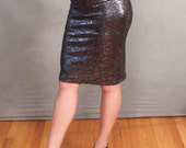MADE TO ORDER Limited Edition Black/ Silver Metallic Foil Stretch Knit Pencil Skirt