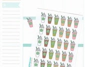30 iced coffee, planner stickers, coffee cup stickers, to go, latte, ice coffee, frap, cute stickers, hand drawn, Erin Condren, ECLP
