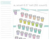 kawaii, coffee planner stickers, available in two sizes, cute cup, coffee cup stickers, to go, latte, cocoa, cappucino, cafe, hot chocolate