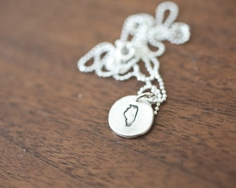 Tiny Illinois Necklace Silver Illinois Necklace State Charm State Necklace IL Small State Charm Chicago Charm Chicago Necklace