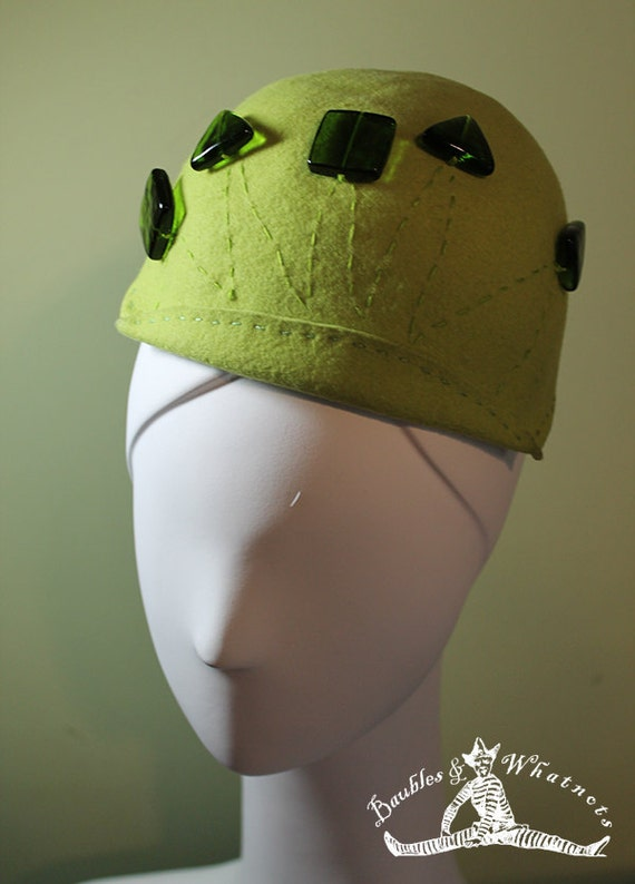 Chartreuse Green Hand Blocked Beaded Wool Beanie Hat OOAK - 1920s 1930s Style Hat - Vintage Inspired Hat - Women's Hat - Winter Fall Hat