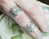 Armor Ring - Double Ring- With Fairy Rainbow Moonstone Glass Stones Adjustable - Statement Ring
