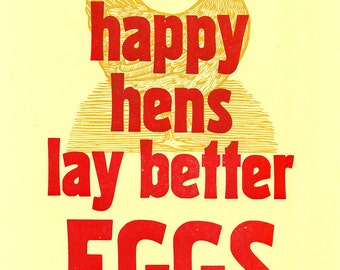 Happy Hens Letterpress Print