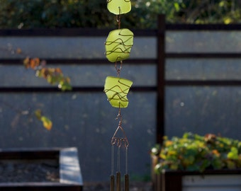 Wind Chime Sun Catcher Sea Glass with Brass Chimes beach glass stained glass windchimes
