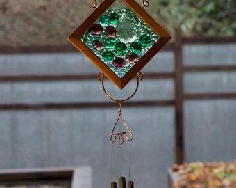 Windchime Suncatcher Green and Purple Glass, Cedar, Copper Brass Wind Chime