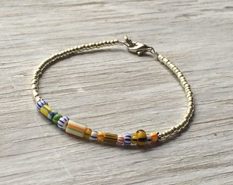 Minimal Bracelet - layering bracelet - simple bracelet with glass trade beads 7 1/4 inches/ 18.4 cm