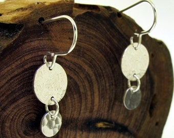 Subtle Textures Dangle Earrings - sterling silver with linen and hammered textures by Kathryn Riechert