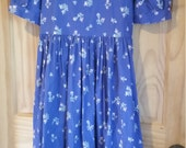 Vintage Laura Ashley Romantic 80s Floral Print Made in Great Britain Dress Size US 10 UK12 EU 36