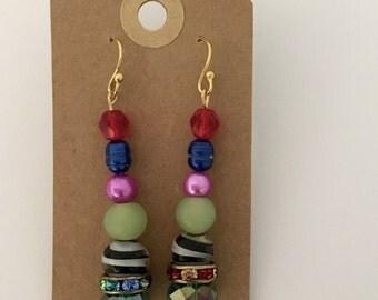 Whimsical Funky Colorful Beaded Earrings