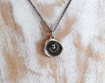 Scottish Thistle Wax Seal Necklace - Scottish Jewelry - 344