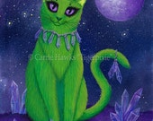 Alien Cat Art Cat Painting Space Cat Green Alien Cat Purple Sci-fi Art Crystals Fantasy Cat Art Print 5x7 Cat Lovers Art