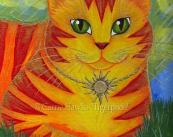 SALE Orange Cat Painting Sun Cat Art Rajah Golden Cat Portrait Big Eye Art Fantasy Cat Art Print 5x7 Cat Lovers Art
