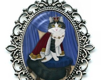 King Cat Necklace Prince Anakin Two Legged Cat Royal Cat Regal Fantasy Cat Art Cameo Pendant 40x30mm Gift for Cat Lovers Jewelry