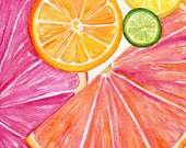 Citrus watercolor painting original, 10 x 10 Ruby Red Grapefruit, Lemon, Orange Lime Watercolor Painting, Citrus Artwork. Kitchen  Decor