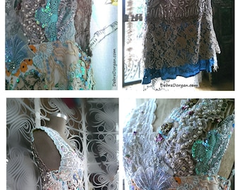 Beaded Show Time Dress, Heavily Beaded, Patchworked, Vintage Lace, Sparkly, Embroidery, Boho