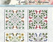 Counted Cross Stitch Pattern Little Birds Biscornus