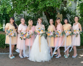 Mismatched individual bridesmaids dresses design your own soft net tulle classic vintage style tea length short knee length