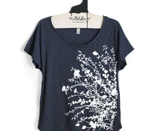 Medium-  Tri-Blend Navy Dolman Tee with Flowering Branches Print
