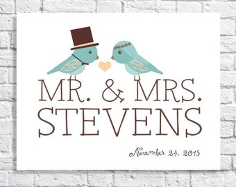 Personalized Couples Name Print Mr. And Mrs. First Home Wall Art For Newlyweds Just Married Wedding Gift Custom Wedding Love Birds Decor