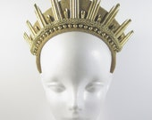 Gold Spike Liberty Handmade Crown - Headpiece - by Loschy Designs