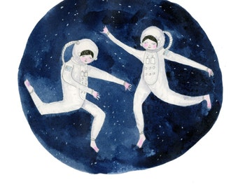 A3 or A4 Print Astro Girls Limited Edition Giclee Signed and Numbered Print