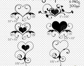 Heart Swirls PNG Line Art Clip Art, Valentine's Day Clip Art, Hearts Cliparts, Clip Art, Cliparts, Digital Scrapbooking, Digital Graphics