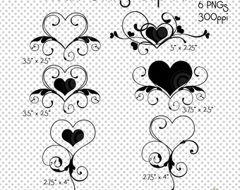Clip Art Line Of Hearts : Love words swashes clip art png and hearts designs