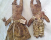 Grungy Primitive Rabbit Dolls Folk Art Spring Penny and Peter