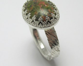 Unakite cabochon Sterling Silver Polished rough bark finish ring 12.11cts Size 10 1/2