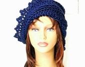 Womens Crochet Hat, Womens Hat Trendy, Crochet Beanie Hat, Dark Country Blue Hat, LAUREN Beanie Hat Womens, Strawberry Couture
