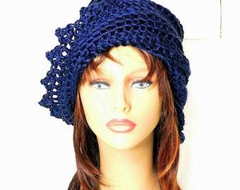 Womens Crochet Hat,  Womens Hat Trendy,  Crochet Beanie Hat,  Dark Country Blue Hat,  Lauren Beanie Hat Womens