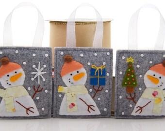 Felt Ornament Set, 3 Handmade Snowman Ornaments, Felt Christmas Embroidery, Advent Calendar Gifts, Teacher Gifts, Stocking Stuffers