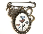 Bird Brooch Pin, Bird Jewelry, Scarf Pin, Antiqued Brass Jewelry, Kilt Pin, Artist Jewelry, Whimsical Jewelry