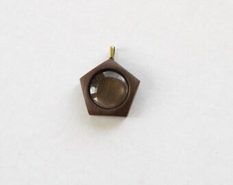 NO laser hardwood pendant blank - Walnut - 20 mm - Brass Bail - (P5c-W)