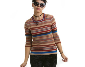 Vintage 1970's Autumn Striped Knit