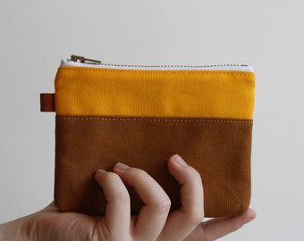 small zipper pouch - sun burst + chestnut