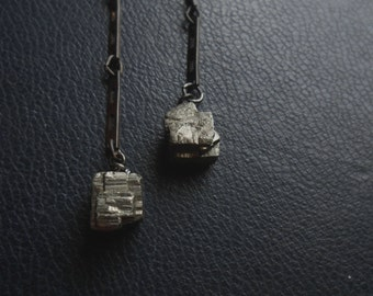 golem - pyrite cube geometric modern dangle earrings - minimal goth indie silver fools gold faceted stone jewelry