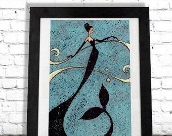 Mermaid Art Print, Nautical Decor,Beach House,Colorful Wall Art,Ocean Wall Hanging,Fine Art,Elegant Artwork,Turquoise Sea Illustration,Shano