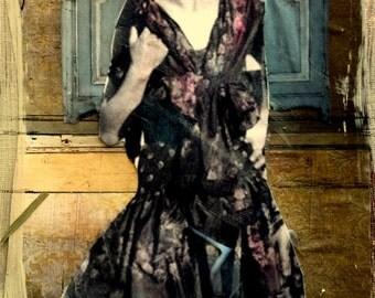 vintage flapper lovely elegant woman original mixed media painting